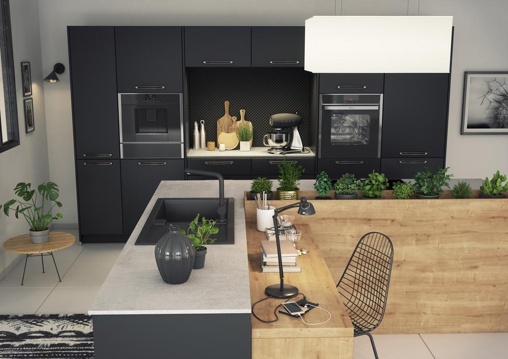 Une cuisine pleine d l gance gr ce la combinaison du noir mat et du ch ne ambr by cuisines - Cuisine noir mat ...