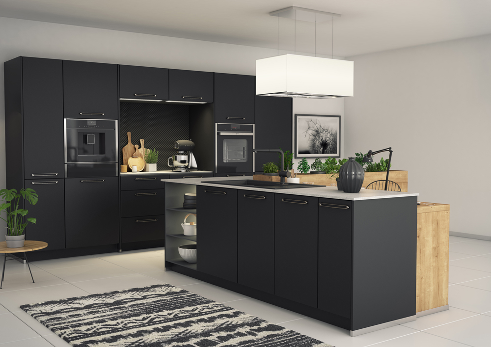 une cuisine pleine d l gance gr ce la combinaison du. Black Bedroom Furniture Sets. Home Design Ideas